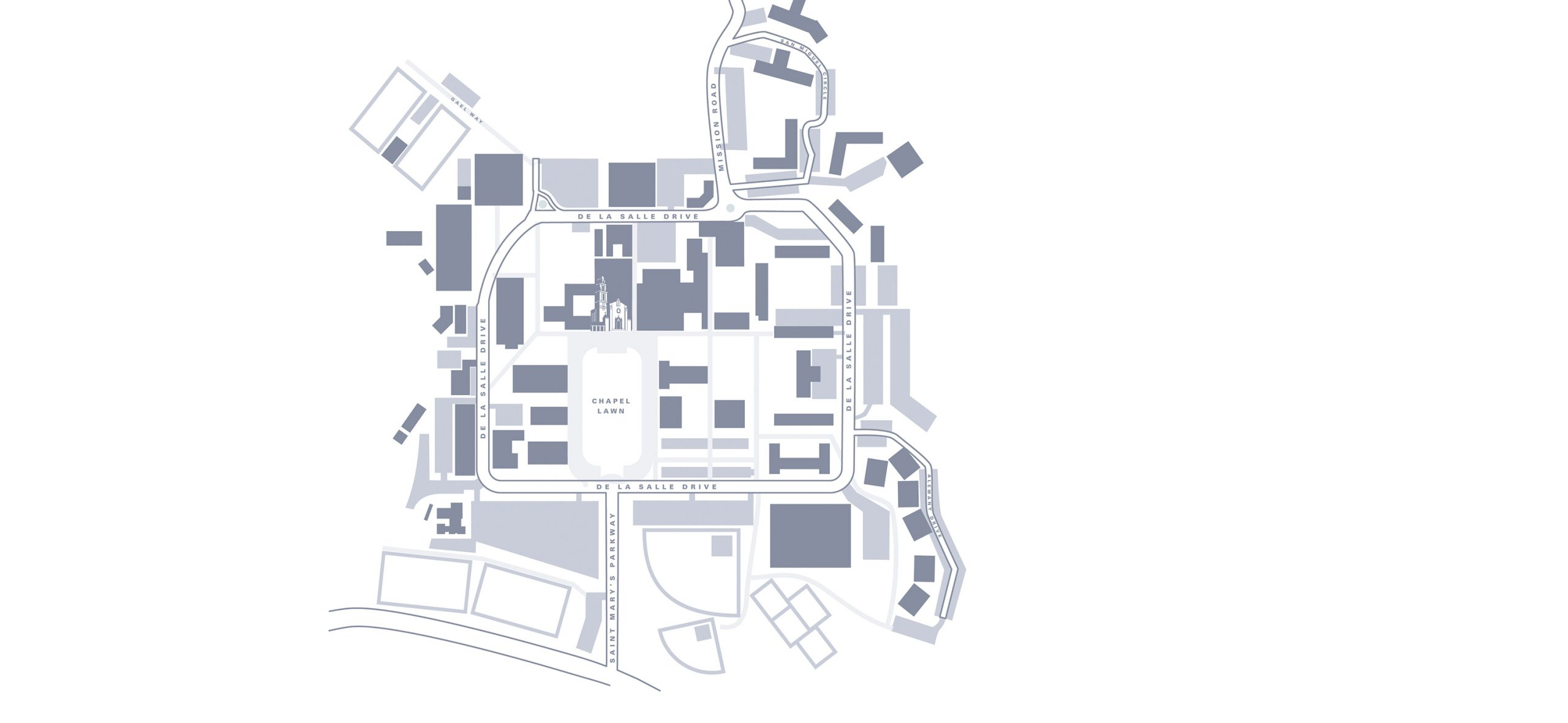 Graphic map showing Saint Mary's campus