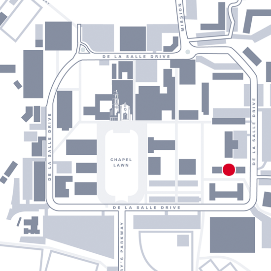Graphic map showing location of Augustine Hall