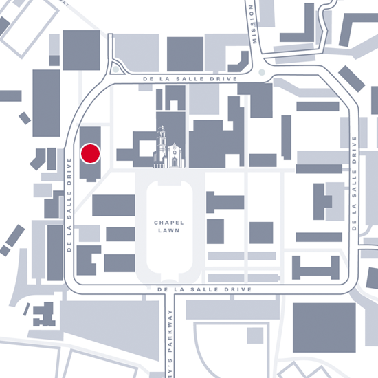 Graphic map showing location of Brousseau Hall
