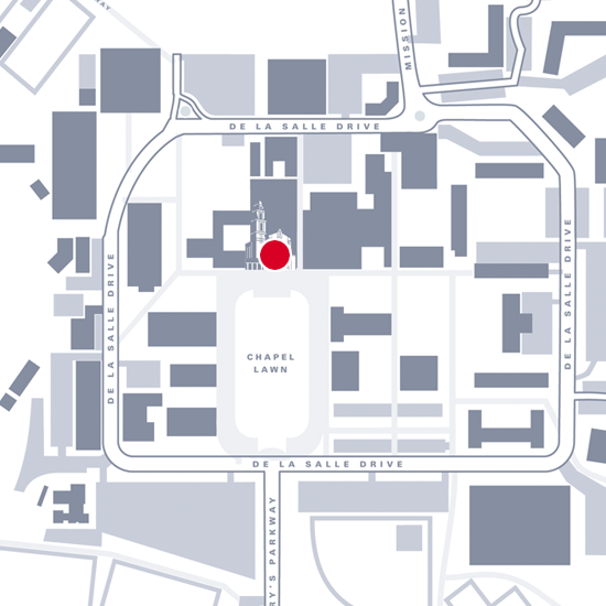 Graphic map showing location of the chapel