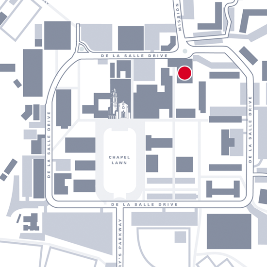 Graphic map showing location of LeFevre Theatre