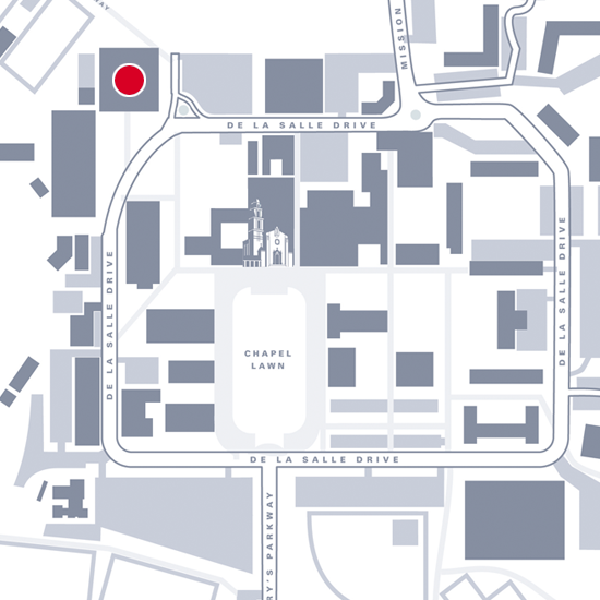 Graphic map showing location of UCU Pavilion