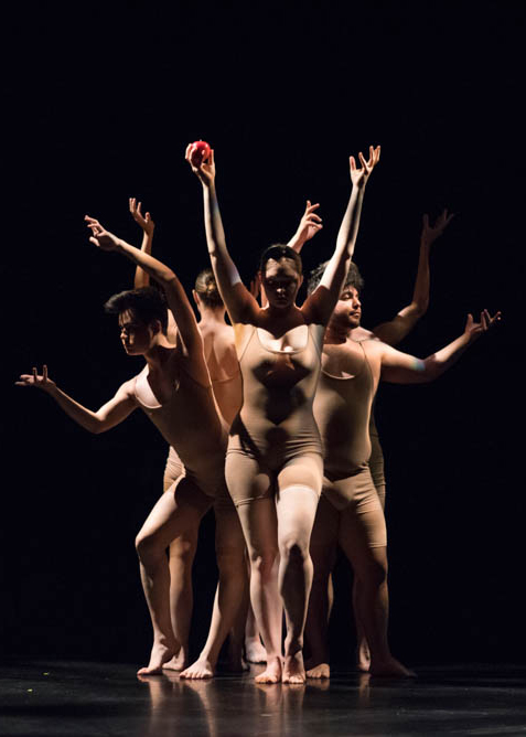 Dancers in nude leotards performing on stage of LeFevre Theatre