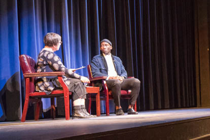 Mahershala Ali being interviewed on stage in LaFevre Theatre